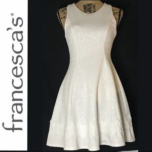 Francesca's White Textured Fit & Flare Dress